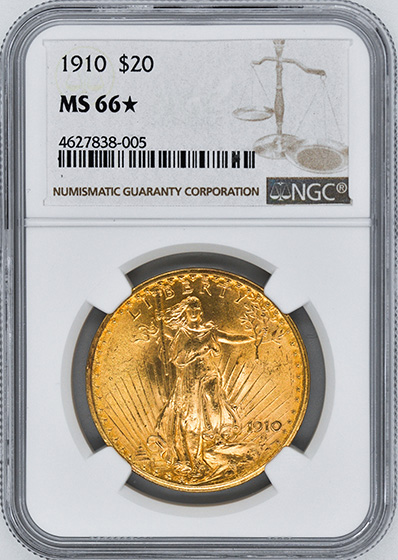 Picture of 1910 ST. GAUDENS $20 MS66
