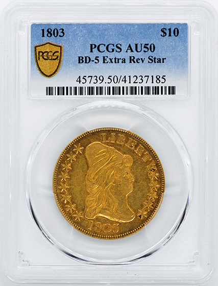 Picture of 1803 DRAPED BUST $10, LARGE STARS REVERSE AU50