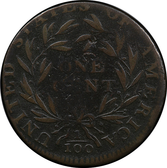Picture of 1795 FLOWING HAIR LARGE 1C, JEFF, PLAIN EDGE VF20 Brown