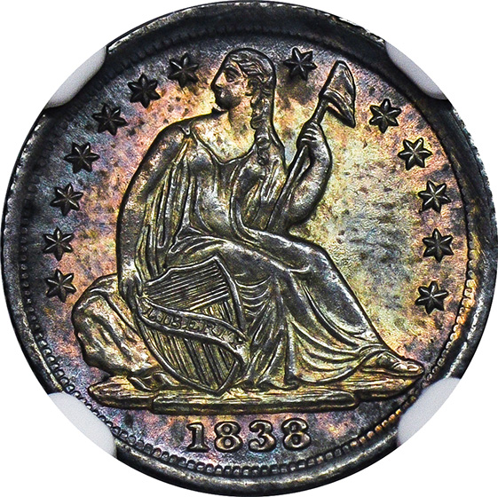 Picture of 1838 LIBERTY SEATED H10C, NO DRAPERY MS67+