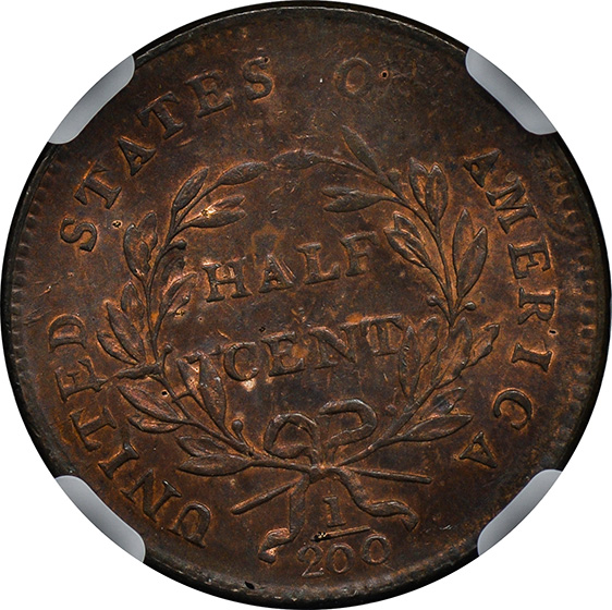 Picture of 1800 DRAPED BUST 1/2C MS64 Red Brown