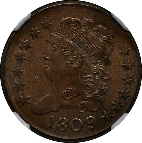 Picture of 1809/6 CLASSIC HEAD 1/2C, 9 OVER INVERTED 9 MS65 Brown