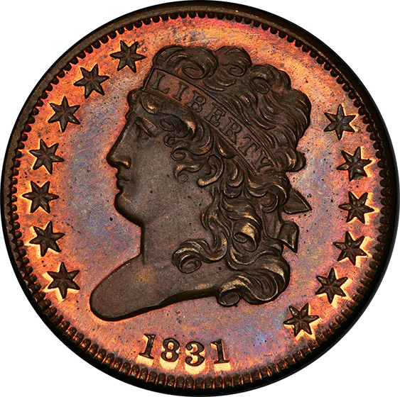 Picture of 1831 CLASSIC HEAD 1/2C, REVERSE OF 1840 PR66+ Red Brown