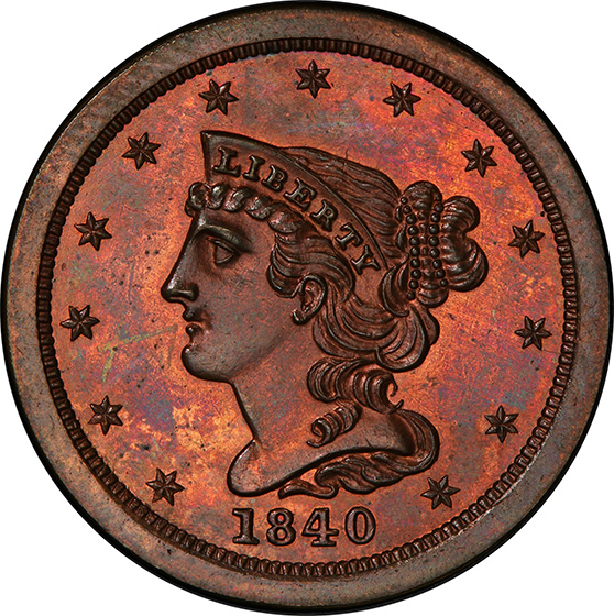 Picture of 1840 BRAIDED HAIR 1/2C, ORIGINAL PR65 Red Brown