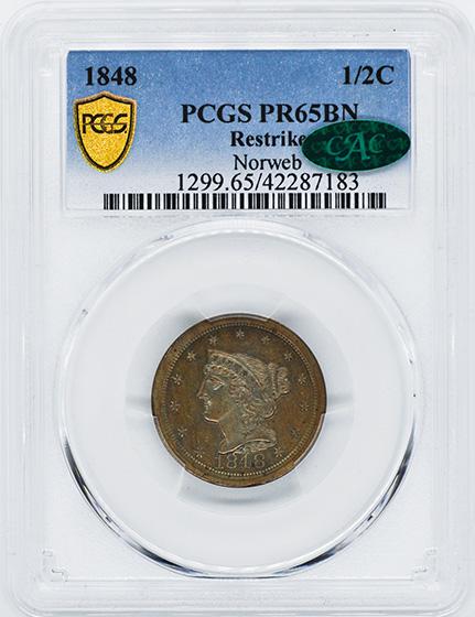Picture of 1848 BRAIDED HAIR 1/2C, RESTRIKE PR65 Brown