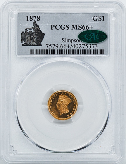 Picture of 1878 GOLD G$1, TYPE 3 MS66+