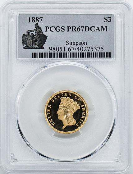 Picture of 1887 INDIAN PRINCESS $3 PR67 Deep Cameo