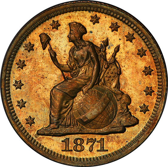 Picture of 1871 LONGACRE 10C, J-1085 PR65 Red Brown