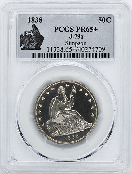 Picture of 1838 SEATED LIBERTY 50C, J-79a PR65+