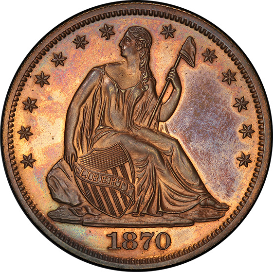 Picture of 1870 SEATED LIBERTY 50C, J-993 PR65+ Red Brown