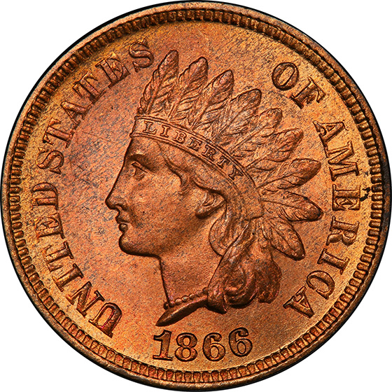 Picture of 1866 INDIAN BRONZE 1C MS66 Red