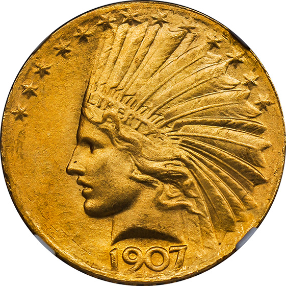 Picture of 1907 INDIAN $10, WIRE EDGE MS65