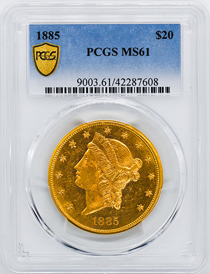 Picture of 1885 LIBERTY HEAD $20 MS61
