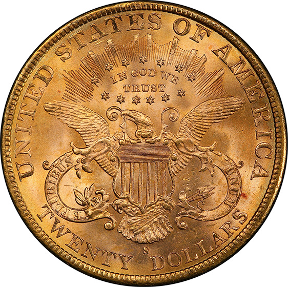 Picture of 1895-S LIBERTY HEAD $20 MS65