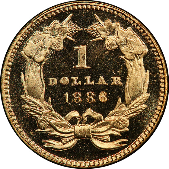 Picture of 1886 GOLD G$1, TYPE 3 PR66 Deep Cameo
