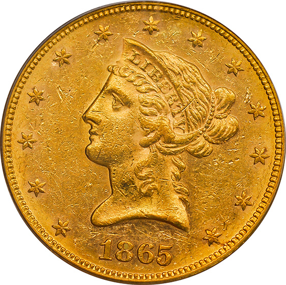 Picture of 1865 LIBERTY HEAD $10 AU58