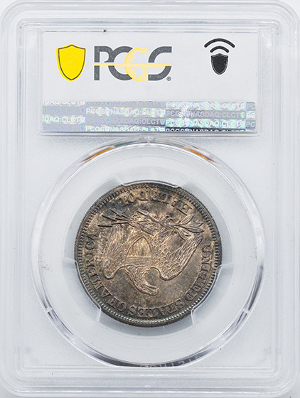 Picture of 1846 LIBERTY SEATED 50C, 6/HORIZONTAL 6 MS64+