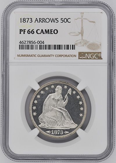 Picture of 1873 LIBERTY SEATED 50C, ARROWS PR66 Cameo