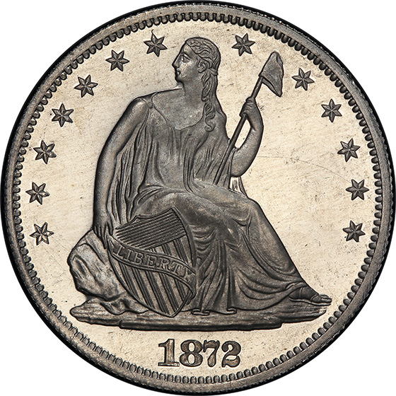 Picture of 1872 SEATED 50C, J-1204 PR66+ Cameo