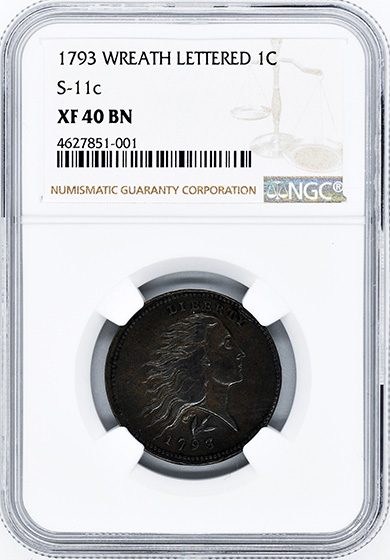 Picture of 1793 WREATH 1C, LETTERED EDGE XF40 Brown