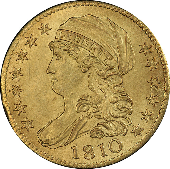 Picture of 1810 CAPPED BUST $5, LARGE DATE, LARGE 5 MS64+