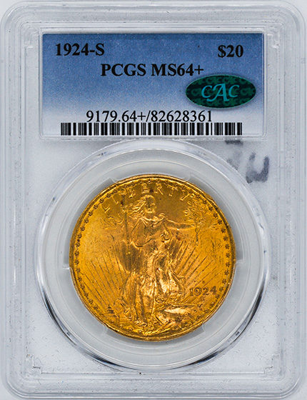 Picture of 1924-S ST. GAUDENS $20 MS64+