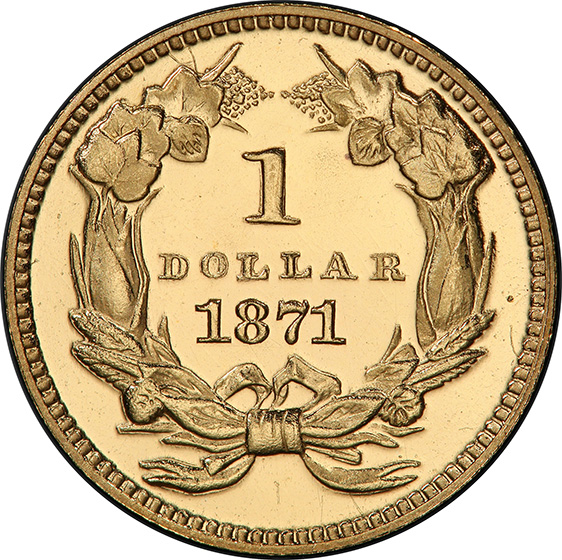 Picture of 1871 GOLD G$1, TYPE 3 PR65 Deep Cameo