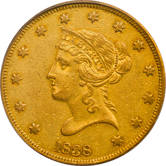 Picture of 1838 LIBERTY HEAD $10 AU50