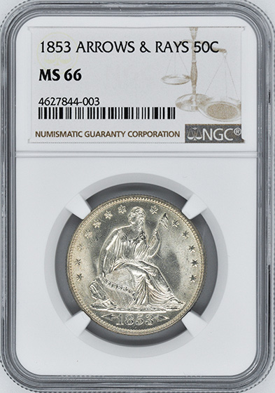 Picture of 1853 LIBERTY SEATED 50C, ARROWS AND RAYS MS66