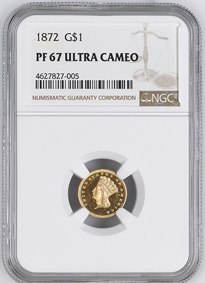 Picture of 1872 GOLD G$1, TYPE 3 PR67 Deep Cameo
