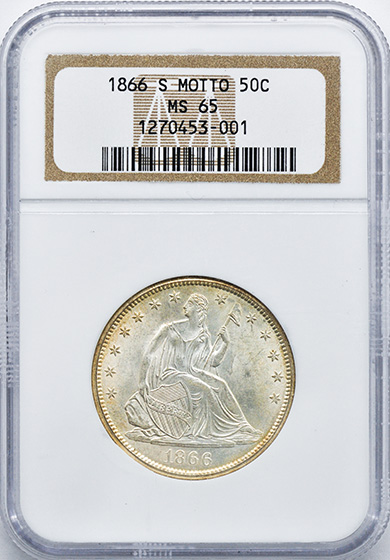Picture of 1866-S LIBERTY SEATED 50C, MOTTO MS65