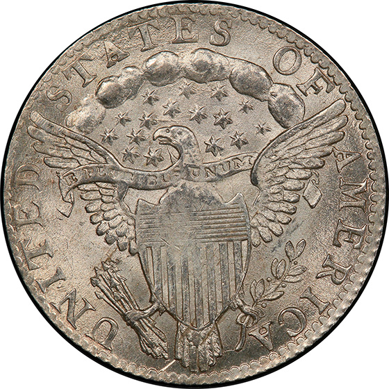 Picture of 1798/97 DRAPED BUST 10C, 16 STARS REVERSE MS64+