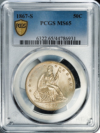 Picture of 1867-S LIBERTY SEATED 50C, MOTTO MS65