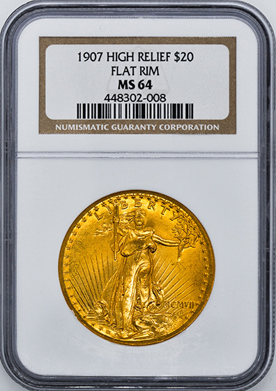 Picture of 1907 ST. GAUDENS $20, HIGH RELIEF-FLAT EDGE MS64