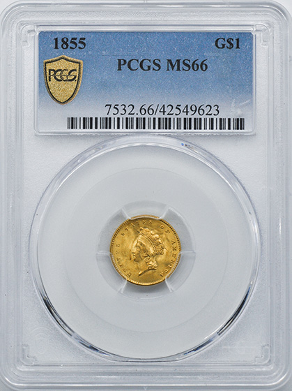 Picture of 1855 GOLD G$1, TYPE 2 MS66