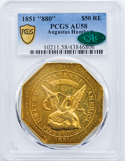 Picture of 1851 HUMBERT 880 THOUS $50 GOLD RE, HUMBERT 880 THOUS MS61