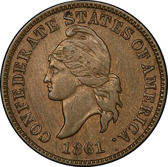 Picture of 1861 CONFEDERATE 1C, COPPER 1C MS62