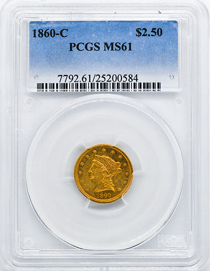 Picture of 1860-C LIBERTY HEAD $2.5 MS61