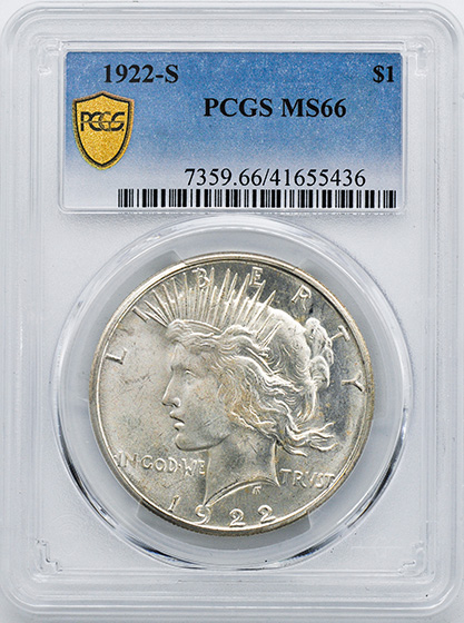 Picture of 1922-S PEACE $1 MS66