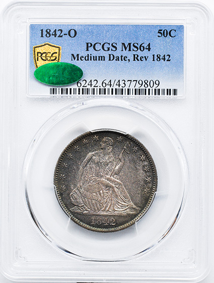 Picture of 1842-O LIBERTY SEATED 50C, MEDIUM DATE, REV 1842 MS64