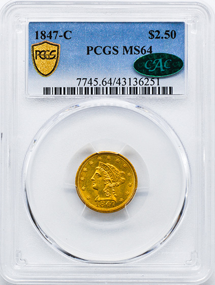 Picture of 1847-C LIBERTY HEAD $2.5 MS64
