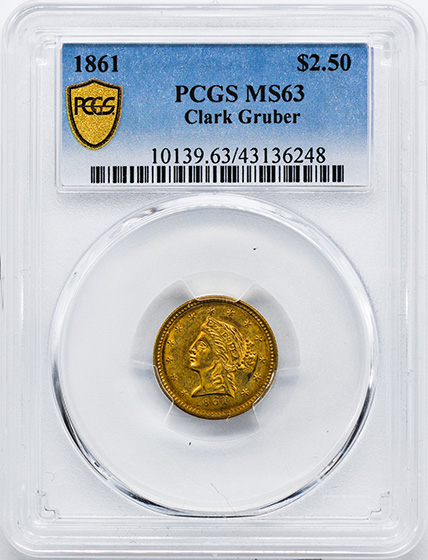 Picture of 1861 CLARK GR $2 1/2 MS63