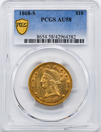 Picture of 1868-S LIBERTY HEAD $10 AU58