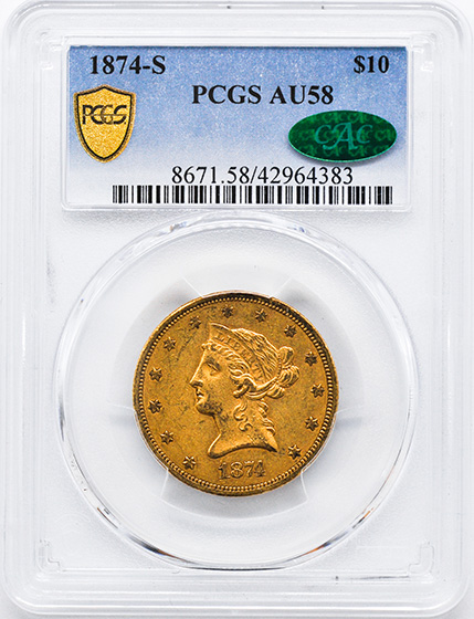 Picture of 1874-S LIBERTY HEAD $10 AU58