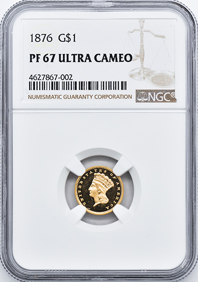 Picture of 1876 GOLD G$1, TYPE 3 PR67 Deep Cameo