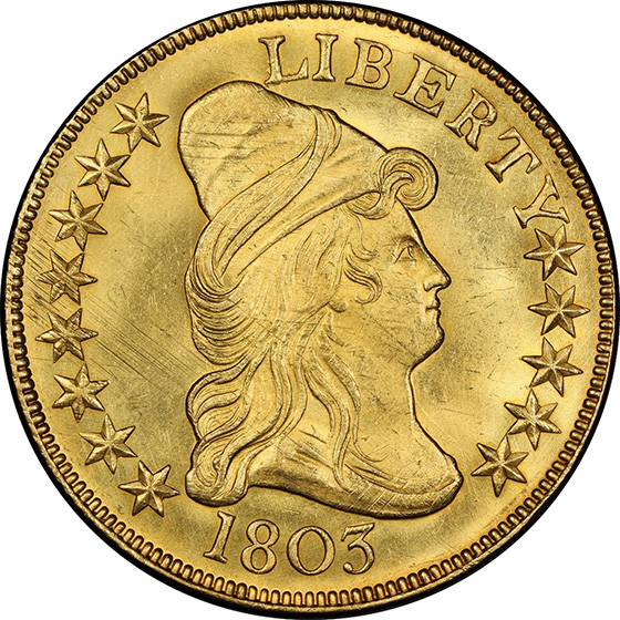 Picture of 1803 DRAPED BUST $10, LARGE STARS REVERSE MS66