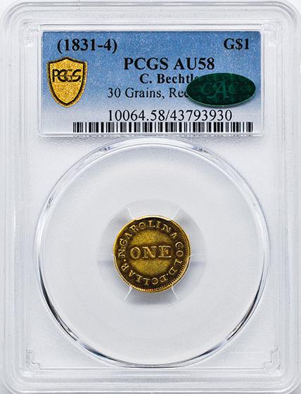 Picture of C BECHTLER $1 30 GRAINS, 30 GRAINS AU58