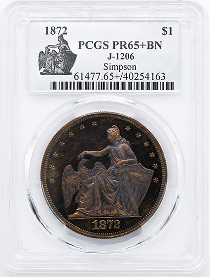 Picture of 1872 AMAZONIAN $1 J-1206 PR65+ Brown
