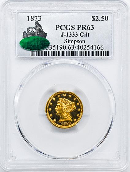 Picture of 1873 LIBERTY $2.5 GILT J-1333 PR63
