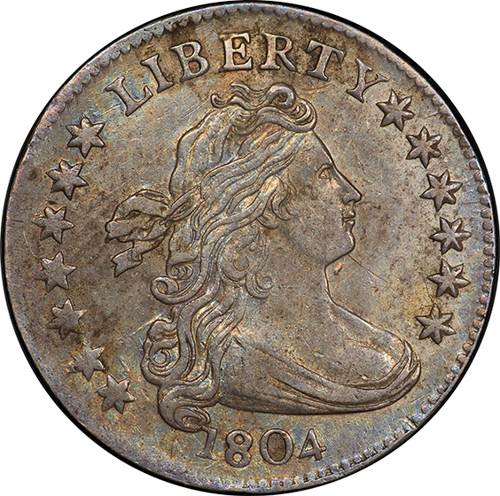 Picture of 1804 DRAPED BUST 10C, 14 STARS REVERSE AU50